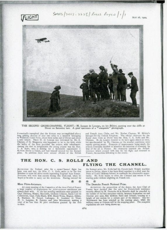Second Cross-Channel Flight by Jacques de Lesseps, 1910