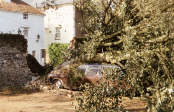 Cliffe Tavern car park, High Street, after the Great Storm of 1987