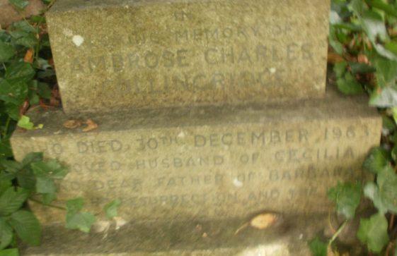 Gravestone of COLLINGRIDGE Ambrose Charles 1963; COLLINGRIDGE Cecilia 1987
