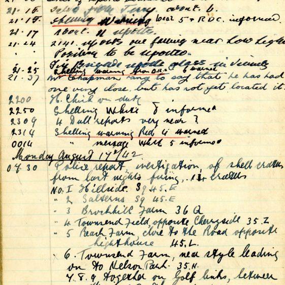 St Margaret's ARP (Air Raid Precautions) Log. Volume 6. 17 July 1942 - 16 February 1943. Pages 19-28