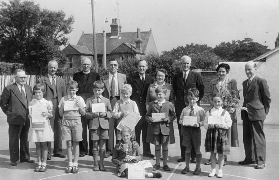 Prize day Road Safety Competition (ROSPA). National School, Kingsdown Road. c1954