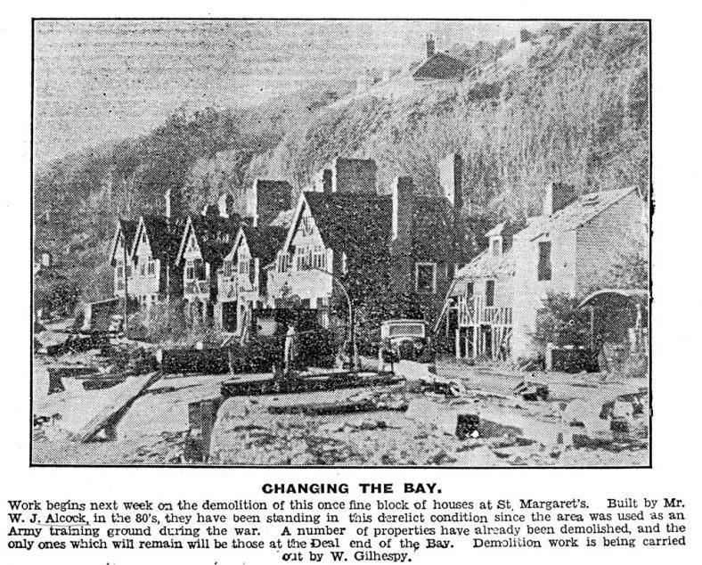 Impending demolition of war damaged village on the beach. c1950