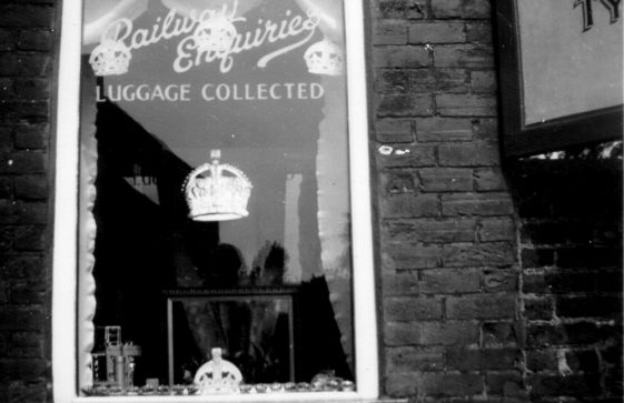 Office window at Street Farm Garage decorated for the 1953 Coronation