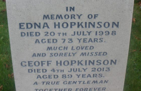 Gravestone of HOPKINSON Geoffrey 2013; HOPKINSON Edna 1998
