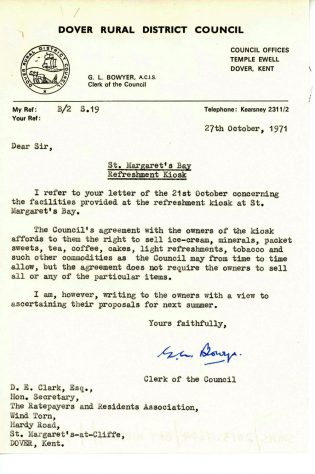 Letter from Dover RCD with rules and regulations for St Margaret's Bay Kiosk. 1971
