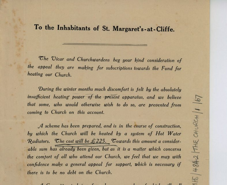 Appeal to the village by the church for funds to install heating. September 1913