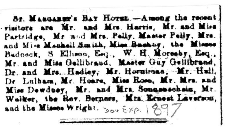 List of Visitors to St Margaret's Bay Hotel. 1897