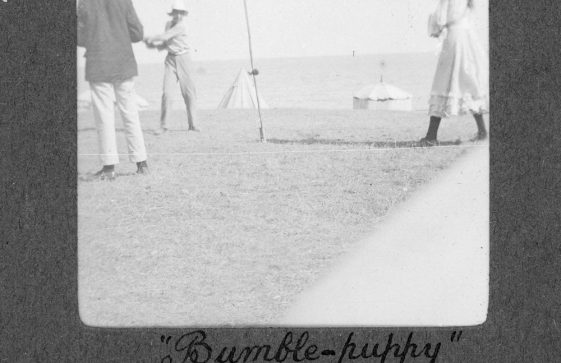 Bumble-puppy or swingball on St Margaret's Bay beach. 1906