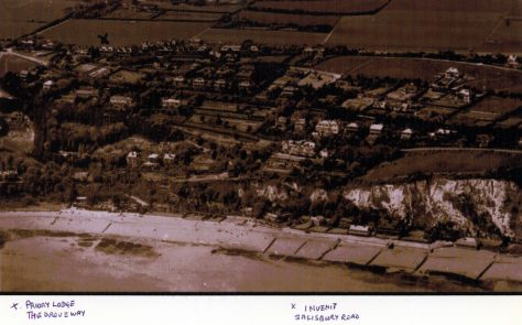 Aerial view looking inland from St Margaret's Bay. c1930