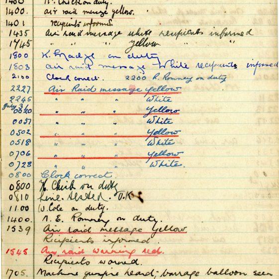 St Margaret's ARP (Air Raid Precautions) Log. Volume 2. 24 July 1940 - 2 November 1940. Pages 1-9