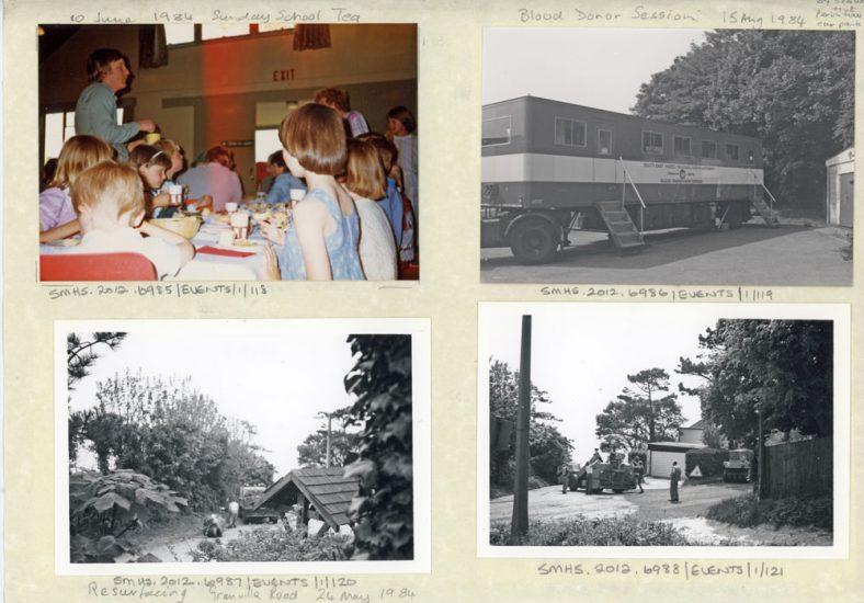 Children's Sunday School Tea 1984; Blood Donor vehicle 1984; Resurfacing Granville Road 1984