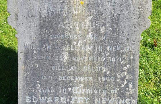 Gravestone of NEWING Arthur 1900; NEWING Edward Fry 1927