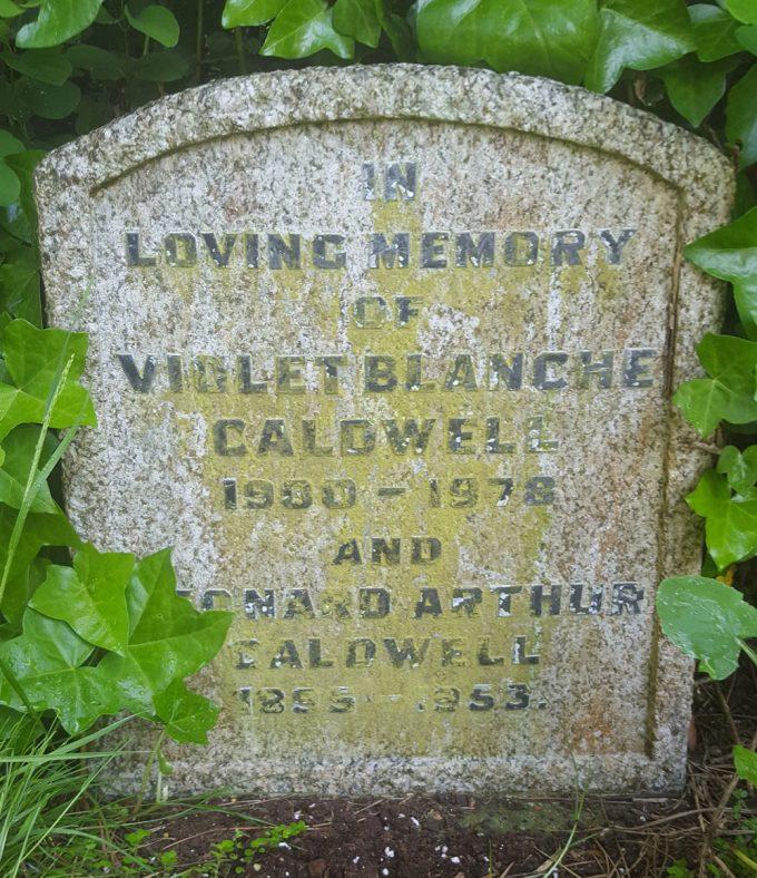 Gravestone of CALDWELL Violet Blanche 1978; CALDWELL Leonard Arthur 1953 | Dawn Sedgwick