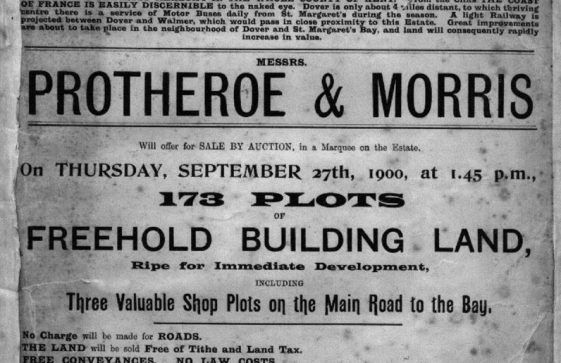 Advertisement for building plots at Nelson Park for auction by Protheroe & Morris. 27 September 1900