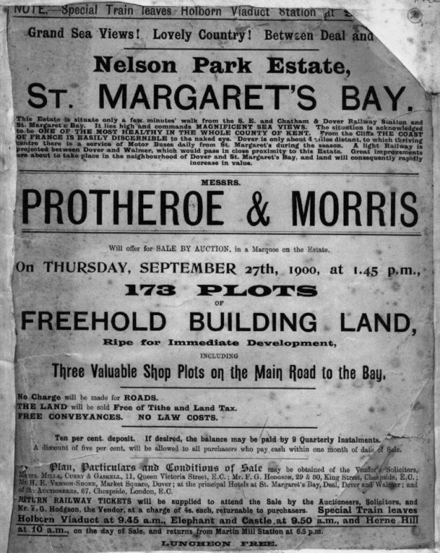 Adverisement for building plots at Nelson Park for auction by Protheroe & Morris on 27 September 1900