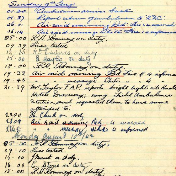 St Margaret's ARP (Air Raid Precautions) Log. Volume 6. 17 July 1942 - 16 February 1943. Pages 10-18