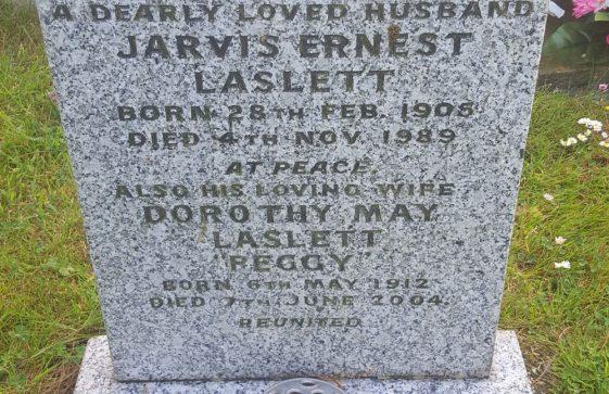 Gravestone of LASLETT Jarvis Ernest 1989; LASLETT Dorothy May 2004