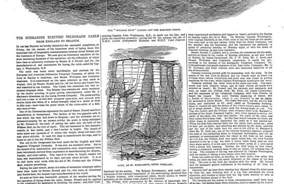 Cable Ship William Hutt paying out cable between England and Belgium. 1853