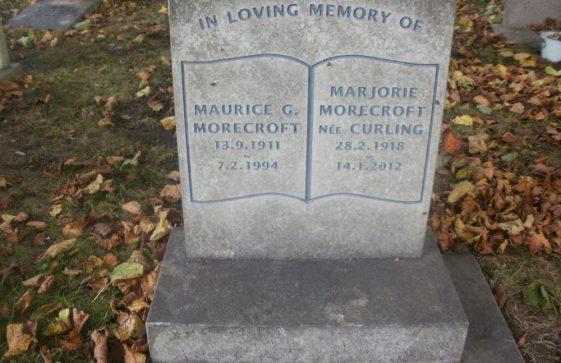 Gravestone of MORECROFT Maurice George 1994; MORECROFT Marjorie 2012