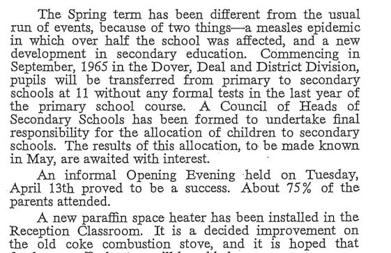 Headmaster Mr Quiddington's Report on the National School, Kingsdown Road. May 1965