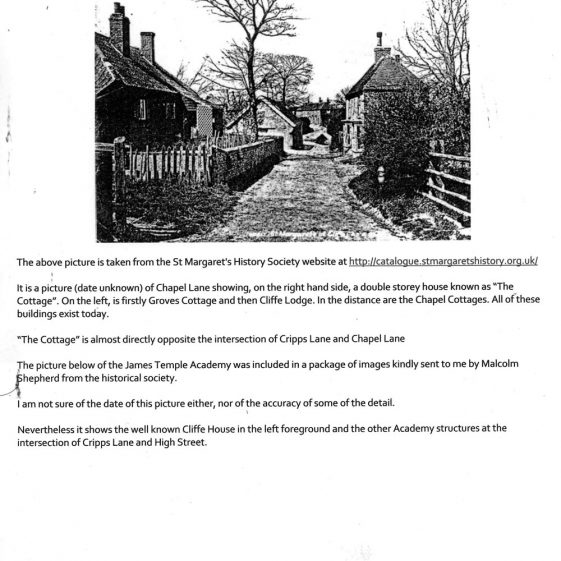 Information on the Clayson/Arnold families and their connection with 'The Cottage' in Chapel Lane