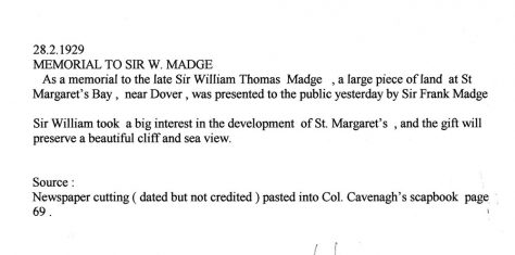 Land donated for the Memorial to Sir William Madge on Bay Hill. 28 February 1929