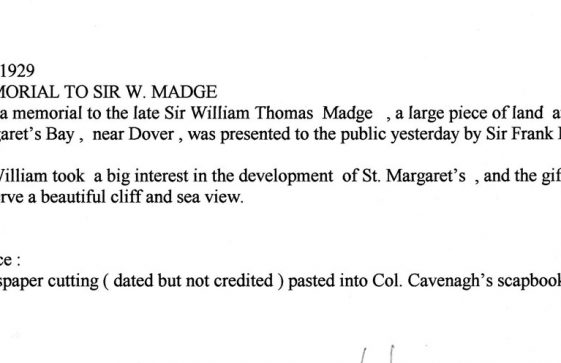 Transcript from a press cutting concerning land donated for the Memorial to Sir William Madge on Bay Hill. 28 February 1929