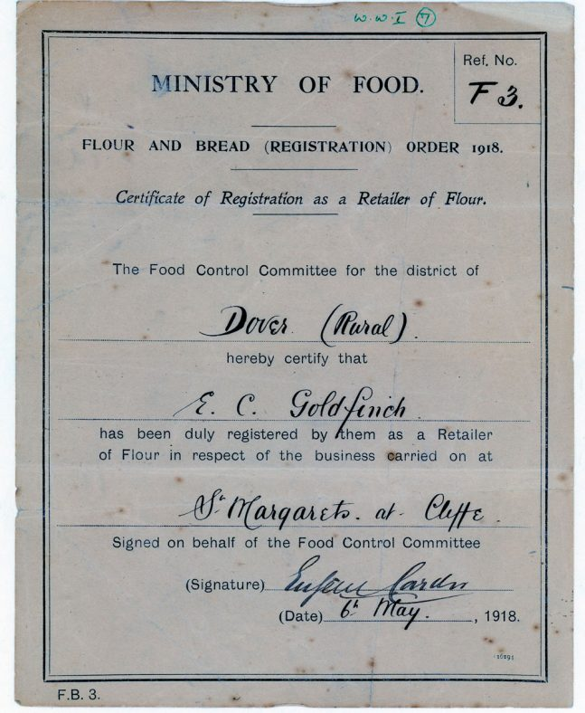 Certificate of Registration for E C Goldfinch permitting the sale of flour during WW1