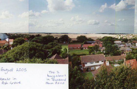 From St Margaret's church tower over centre of St Margaret's at Cliffe. 23 August 2005