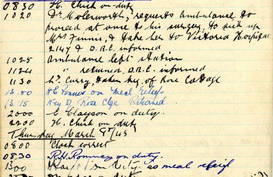 St Margaret's ARP (Air Raid Precautions) Log. Volume 9. 10 August 1944 - 30 June 1945. Pages 106-114