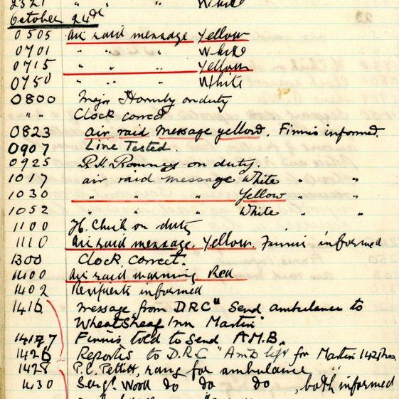 St Margaret's ARP (Air Raid Precautions) Log. Volume 2. 24 July 1940 - 2 November 1940. Pages 123-132
