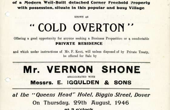 Sea Street: Sale Brochure for Cold Overton. 1946