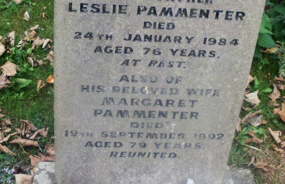 Gravestone of PAMMENTER Leslie Christopher 1984; PAMMENTER Margaret Wilson Bryson 1992; MAIDMENT Elesha Jessie 2003; RATCLIFFE Amy Evelyn 2002