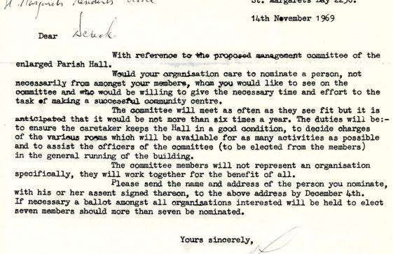 Parish Hall Committee and Funding. 1965 and 1969
