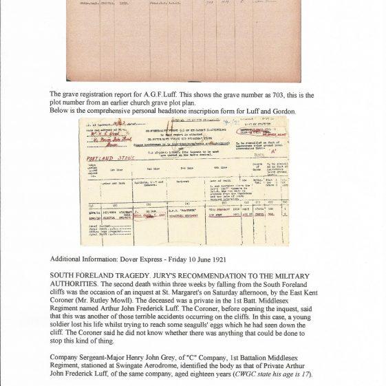 Private Arthur Luff, 1st Battalion Middlesex Regiment. died 1921