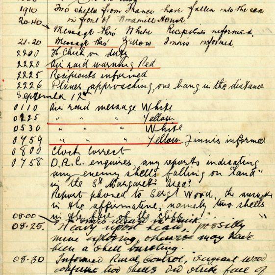 St Margaret's ARP (Air Raid Precautions) Log. Volume 2. 24 July 1940 - 2 November 1940. Pages 65-72