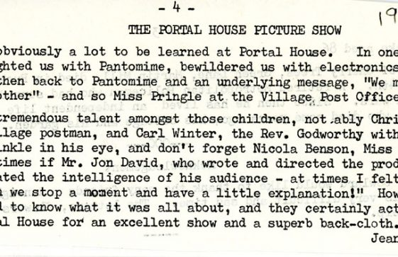 Extracts from the Parish Magazine about events at Portal House School. 1980 and 1986