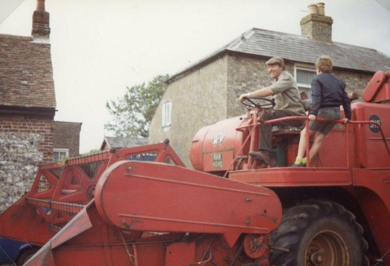 Combine harvester in Kingsdown Road, August 1984