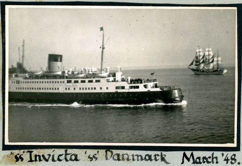 Ferry ss Invicta and sail training vessel Danmark. 1948