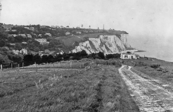 Looking east from The Front across the Bay towards the Dover Patrol Memorial. 1952