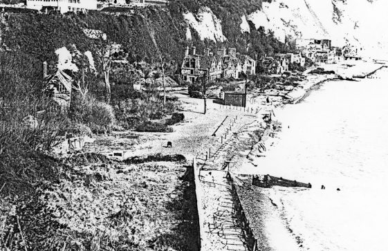 War damaged village on the beach.  c1945