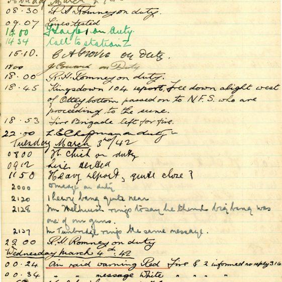 St Margaret's ARP (Air Raid Precautions) Log. Volume 5. 25 September 1941 - 17 July 1942. Pages 68 - 77.