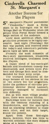 Press Review of St Margaret's Players Pantomime 'Cinderella' 1960