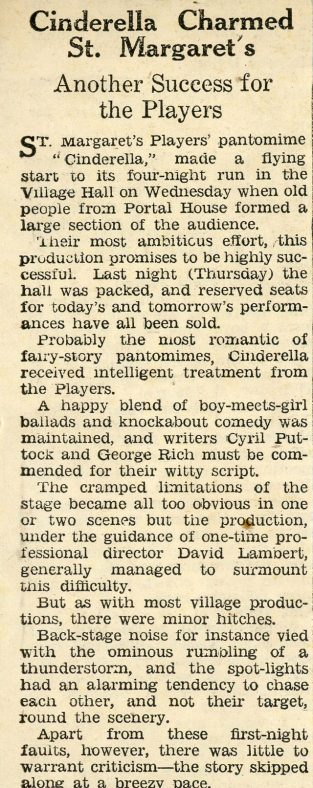 Press Review of St. Margaret's Players Pantomime 'Cinderella'.1960