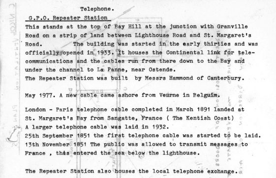 Short notes about the Telecommunications Repeater Station at the top of Bay Hill. 1851