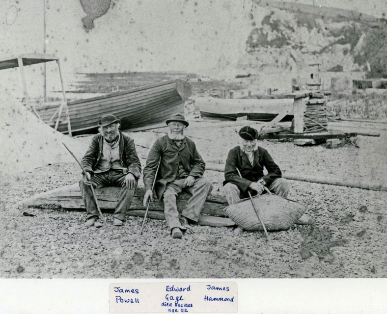 Fishermen and boats on St Margaret's Bay beach. c.1900