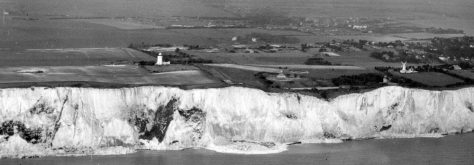 Aerial view of South Foreland cliffs from the sea. Undated