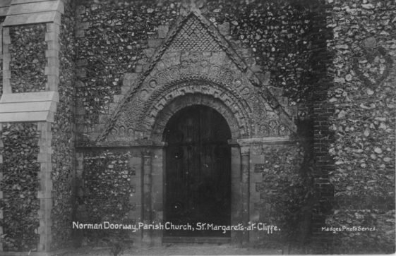 'Norman Doorway, Parish Church, St.Margaret's-at-Cliffe'. postmark 1911
