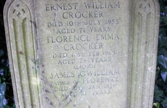 Gravestone of CROCKER Ernest William 1953; CROCKER Florence Emma 1965; GWILLIAM James 1939