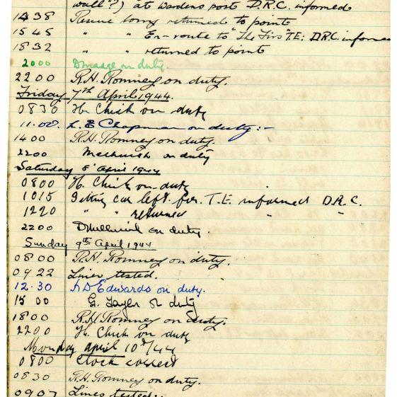St Margaret's ARP (Air Raid Precautions) Log. Volume 8. 25 October 1943 - 10 August 1944. Pages 61-72